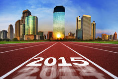 New Year 2015 on running track concept with blue sky. Royalty Free Stock Photos