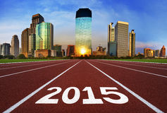 New Year 2015 on running track concept with modern city. New year concept, competition concept, sport concept vector illustration