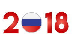 New Year 2018 with Russia Flag. Isolated on White Background - Vector Illustration Royalty Free Stock Photography