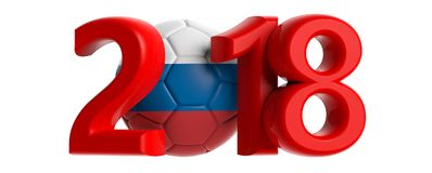 New year 2018 with Russia flag soccer football ball on white background. 3d illustration. New year 2018 with Russia flag soccer football ball isolated on white Royalty Free Stock Photos