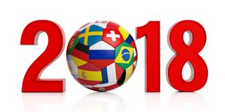 New year 2018 with Russia soccer football ball isolated on white background. 3d illustration. New year 2018 with Russia flag soccer football ball isolated on Royalty Free Stock Images