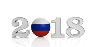 New year 2018 with Russia soccer football ball isolated on white background. 3d illustration. New year 2018 with Russia flag soccer football ball isolated on Stock Image