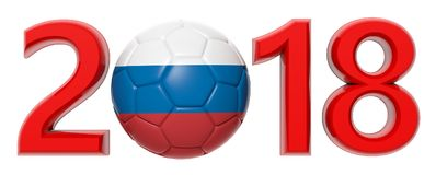 New year 2018 with Russia flag soccer football ball on white background. 3d illustration. New year 2018 with Russia flag soccer football ball isolated on white Royalty Free Stock Photography