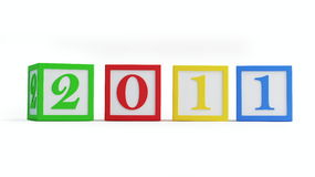 New year's 2011 alphabet blocks. Isolated on a white background Royalty Free Stock Image