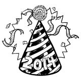 New Year's 2014 party hat sketch. Doodle style New Year's Eve celebration sketch including party hat, confetti, and 2014 date marker. Vector format royalty free illustration