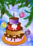 New Year's appetizing celebratory pie Royalty Free Stock Image