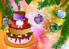 New Year's appetizing celebratory pie. On a abstract background with space for placing of your text vector illustration