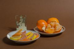 New Year`s arrangement with tangerines stock photo
