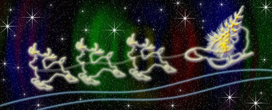 New year's background. The three of deer carries in sledge a fur-tree on the star sky Stock Photos