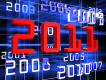 New year's background. Dark blue and red numerals of years on black background stock illustration