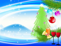 New year's background. Goblets with drink on festive new year's background Stock Images