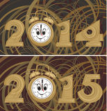 New year`s background - 2014, 2015. New year's clock with a dial smiling vector illustration