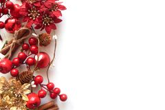 New Year`s background with berries, a garland and toys stock photo