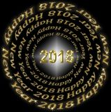 New Years background by 2018. New Year`s background by 2018, black and gold vector illustration