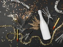 New Year´s background with a bottle of champagne and various New Year`s utensils on. New Year`s background with a bottle of champagne on black chalkboard stock images