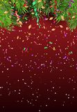 New Year`s background with branches of Christmas tree and confet. Ti.Vector Stock Photos