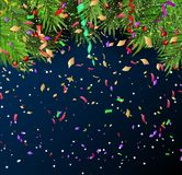 New Year`s background with branches of Christmas tree and confet. Ti.Vector Royalty Free Stock Photo