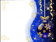 New Year's background with Christmas toys. Christmas background with shiny blue Christmas toys and gold snowflakes Stock Photos