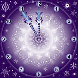 New Year's background with clock with snowflakes Royalty Free Stock Images