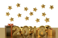 2018  New Year`s background.3D illustration. Royalty Free Stock Photos