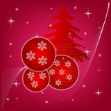 New year's background with fir tree and ball Stock Photos