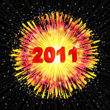 New Year's background with a flash of fireworks. Vector illustration Royalty Free Stock Photography