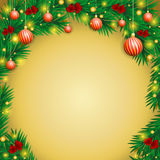 New Year s background in the form of an arch made fir branches. Stock Photos