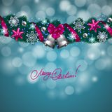 New Year's background - a garland of fir branches, balls, berries Stock Image