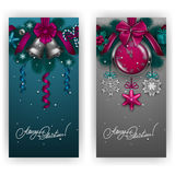 New Year s background - a garland of fir branches, balls, berries Stock Photo