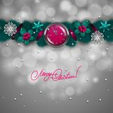 New Year's background - a garland of fir branches, balls, berries Royalty Free Stock Photos