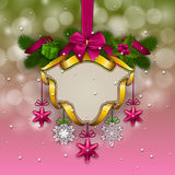 New Year`s background - a garland of fir branches, balls, berries Royalty Free Stock Images