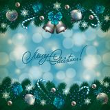 New Year's background - a garland of fir branches Royalty Free Stock Photo