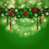 New Year's background - a garland of fir branches. Bow, gift, lollipops, holly berries, snowflakes for greeting card, invitation. Christmas festive bokeh Stock Photo