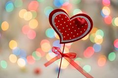 New year`s background for good Rozhdestvensky mood heart on bokeh background Royalty Free Stock Photography