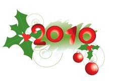 New Year's background with holly Royalty Free Stock Image