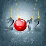 New Year's background with the numbers 2012. And a red New Year's ball, on a gray, luxury, vintage background Royalty Free Stock Photos