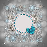 New Year's background. With snowflakes, shiny stars, ribbon, lace frame, ruffles, place for text for greeting card, invitation, congratulation. Christmas vector illustration