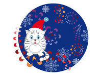 New Year's background with a white cub. Snowflakes and colorful ribbons Stock Photos