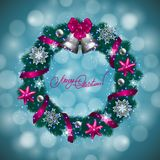New Year's background - a wreath of fir branches, balls royalty free illustration