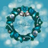 New Year's background - a wreath of fir branches, Stock Image