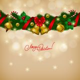 New Year's background - a wreath of fir branches, Stock Images