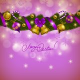 New Year's background - a wreath of fir branches, Stock Photo