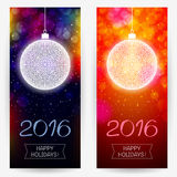 New year's backgrounds with decorative balls for 2016 holidays. Two New Year's backgrounds in multicolor dark and bright red colors with decorative balls and Stock Photography