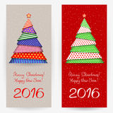 New Year's backgrounds. Festive backgrounds with Christmas trees. Wish a Merry Christmas and a Happy New Year 2016 Stock Image