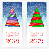 New Year's backgrounds. Festive backgrounds with Christmas trees. Wish Merry Christmas and Happy New Year 2016 Stock Image