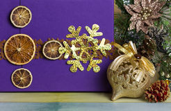 New Year's ball decoration with gift boxes Royalty Free Stock Photos