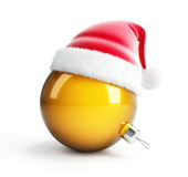 New Year's ball in santa hat. On white background Stock Images
