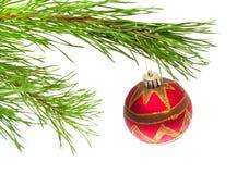 New Year's ball on tree Stock Photo