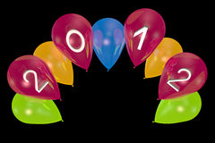 New Year's balloons. On a black background Royalty Free Stock Photography