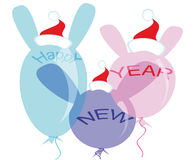 New Year's balloons in Santa hats. Three balloons with ears of rabbits and New Year's greetings are dressed in Santa hats stock illustration